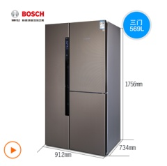 博世(Bosch) KAF96A46TI 569升风直冷混冷无霜大容量变频冰箱对开门冰箱(胡桃粽色)